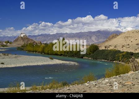 India, Jammu and Kashmir State, Ladakh Region, Himalayan foothills, Hemis village - Stock Photo