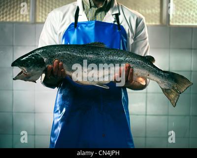 Fishmonger holding a salmon - Stock Photo