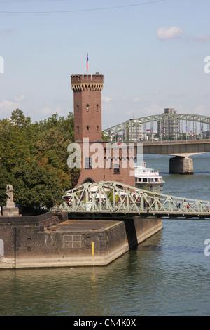 The Malakoff Tower at the Rheinauhafen (Rheinau harbor) in Cologne (Germany) - Stock Photo