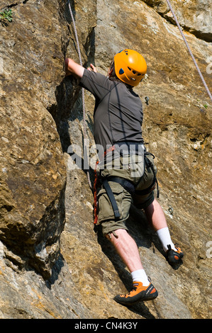 France, Ardeche, climbing on a limestone massif above Vallon Pont d'Arc in the surroundings of Salavas - Stock Photo