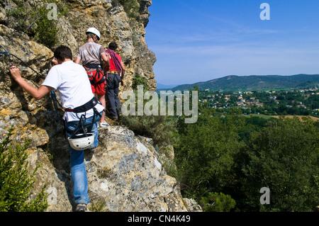 France, Ardeche, climbing on a limestone massif above Vallon Pont d'Arc in the surroundings of Salavas - Stock Photo