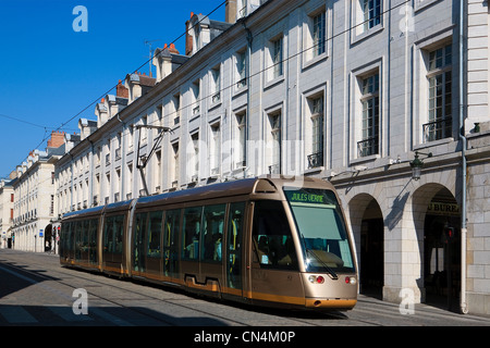 France, Loiret, Orleans, tramway on Rue Royale - Stock Photo