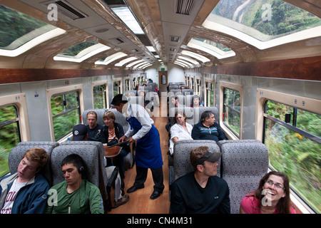Peru, Cuzco Province, the train from Cuzco to Aguas Calientes and Machu Picchu - Stock Photo