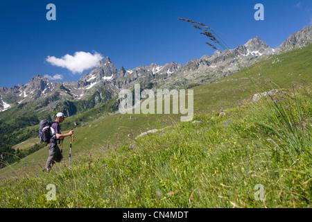 France, Isere, Oisans, Le Rivier d'Allemont, hiking to the Sciallet peak (2312m) in massif de Belledonne - Stock Photo