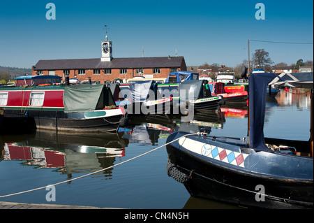 Canal boats at Stourport canal basin Worcestershire England UK - Stock Photo