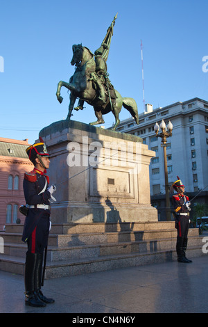 Argentina, Buenos Aires, Plaza de Mayo, the equestrian statue of General Belgrano - Stock Photo