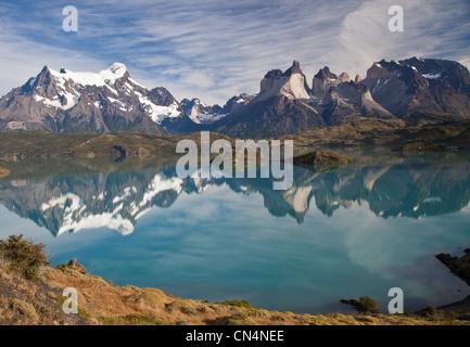 Chile, Patagonia, Magallanes and Antartica Chilean region, Ultima Esperanza province, Torres del Paine National - Stock Photo