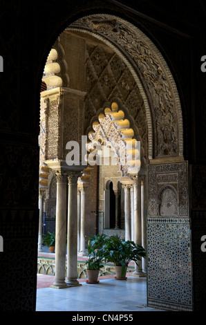 Spain, Andalusia, Seville, Real Alcazar listed as World Heritage by UNESCO, Patio de las Doncellas - Stock Photo