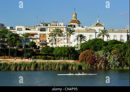 Spain, Andalucia, Seville, Guadalquivir River banks, in the foreground Plaza de toros and La Maestranza Bullrings, - Stock Photo