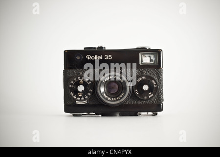 Classic old camera Rollei 35 - Stock Photo