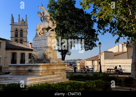 France, Herault, Montpellier, historical center, the Ecusson, the fountain with unicorns in the garden of the Canourgue - Stock Photo