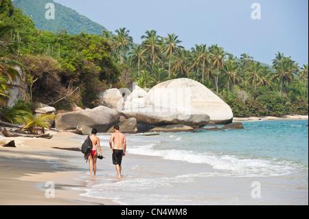 Colombia, Magdalena Department, Tayrona National Park (Parque Nacional Tayrona) founded in 1969, the Piscina beach - Stock Photo