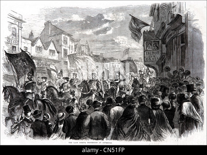 Lady Godiva procession through Coventry Victorian engraving dated 5th July 1862 - Stock Photo