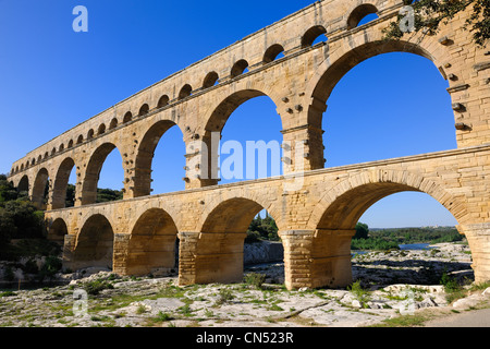 France, Gard, Pont du Gard listed as World Heritage by UNESCO, Roman aqueduct over Gardon River - Stock Photo