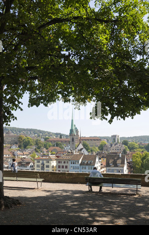Vertical wide angle cityscape of the view from Lindenhof hill on a sunny day. - Stock Photo