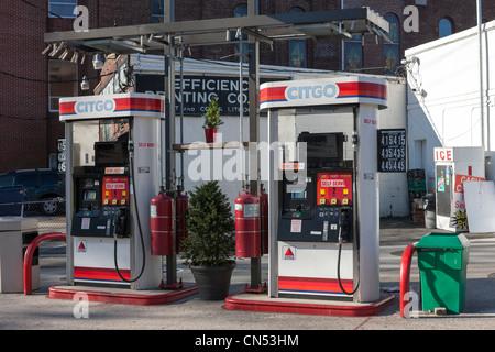 Self serve gasoline pumps at a Citgo gasoline station in White Plains, New York. - Stock Photo