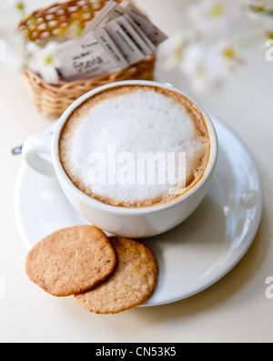 Peru, Cuzco province, Cuzco, listed as World Heritage by UNESCO, cup of capuccino with Stevia (rebaudiana Bertoni), - Stock Photo