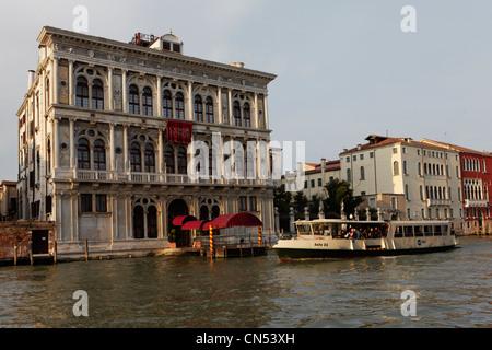 Italy, Venetia, Venice, listed as World Heritage by UNESCO, Grand Canal, Casino, Palazzo Vendramin Calergi - Stock Photo