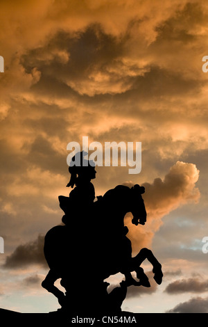 France, Paris, the Equestrian statue of Louis XIV in the Cour Napoleon of the Louvre Museum - Stock Photo