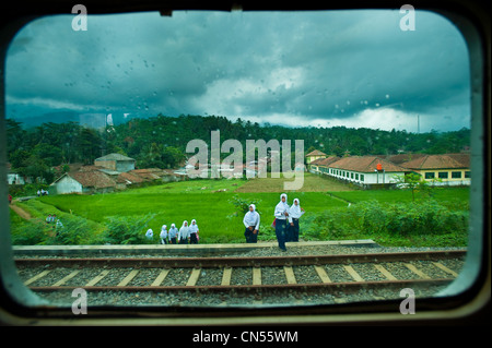Indonesia, Java, Central Java Province, in the train between Yogyakarta and Yogyakarta - Stock Photo