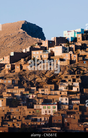 Afghanistan, Kabul, Chahari Sadarat, view of distant houses on a hill, from Mustafa Hotel rooftop - Stock Photo