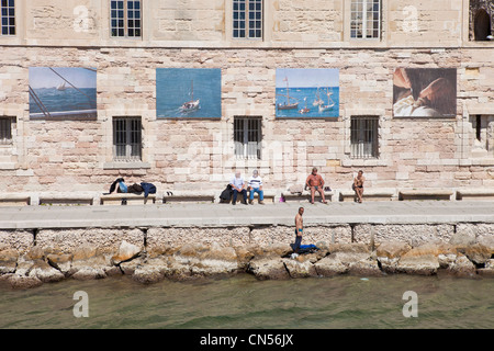 France, Bouches du Rhone, Marseille, Fort St. Jean, at the entrance of the Vieux Port - Stock Photo