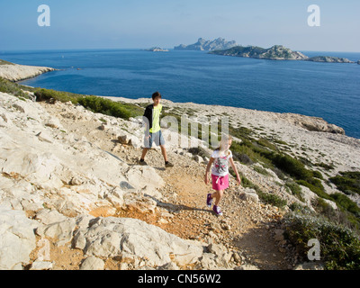 France, Bouches du Rhone, Marseille, the walk from Callelongue on the GR 98-51 links to Cassis - Stock Photo