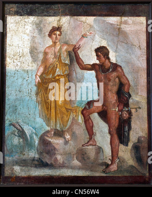 Italy, Campania, Naples, National Archaeological Museum, Frescoes from Pompei, Perseus and Andromeda - Stock Photo