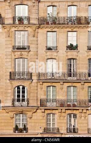 France Paris Haussmann type building with bow windows at the n7