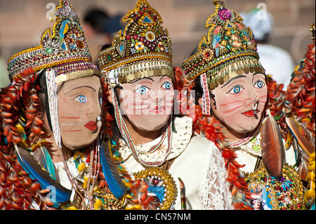 Peru, Cuzco province, Cuzco, listed as World Heritage by UNESCO, dancer interpreting Chunchacha, satire dance mocking - Stock Photo