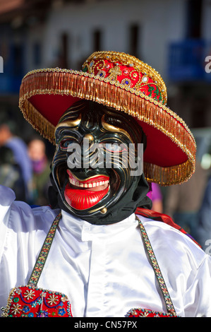 Peru, Cuzco province, Cuzco, listed as World Heritage by UNESCO, dancer interpreting QhapacNegro, satire dance mocking - Stock Photo