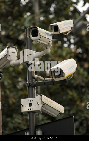 CCTV security cameras on the street in Italy - Stock Photo