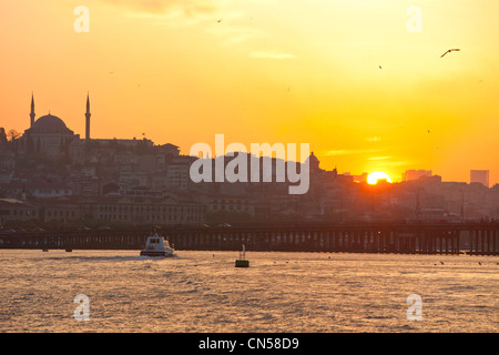 Turkey, Istanbul, sunset on the straits of the Golden Horn - Stock Photo