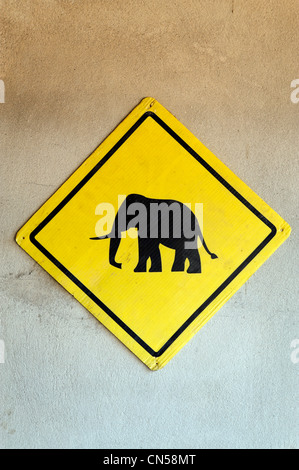 Laos, Luang Prabang Province, Luang Prabang City, signpost indicating the presence of elephants Stock Photo