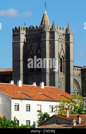 Spain, Castile and Leon, Avila, old city listed as World Heritage by UNESCO, gotic cathedral of the 13th - 15th - Stock Photo