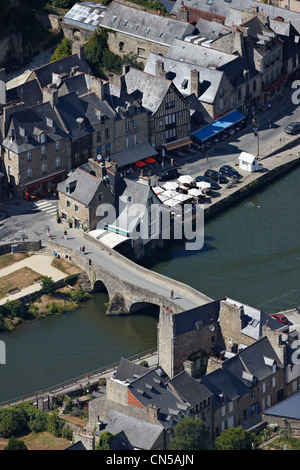 France, Cotes d'Armor, Dinan, the harbour on the Rance River banks (aerial view) - Stock Photo