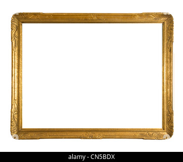 Antique gold ornate picture frame isolated on a white background - Stock Photo