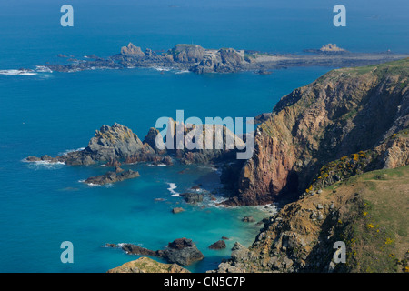 United Kingdom, Channel islands, Alderney (aerial view) - Stock Photo