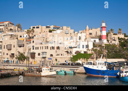 Israel, Tel Aviv, Jaffa, old town, lighthouse over one of the oldest ports in the world - Stock Photo