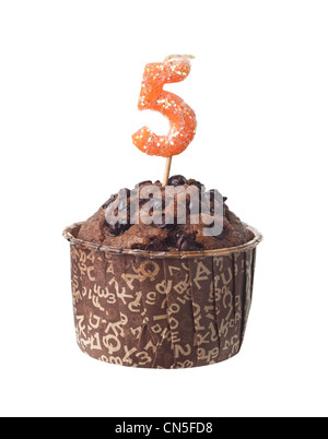 Chocolate muffin with birthday candle for five year old isolated on white background - Stock Photo
