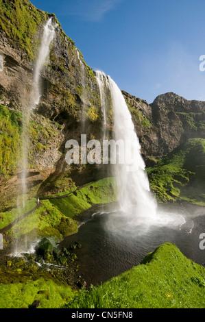 Iceland, Sudurland Region, waterfall of Seljalandsfoss - Stock Photo