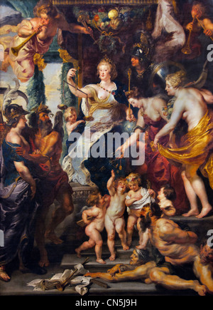 The Felicity of the Regency of Marie de' Medici -  by Peter Paul Rubens (widow of King Henry IV) of France, for - Stock Photo
