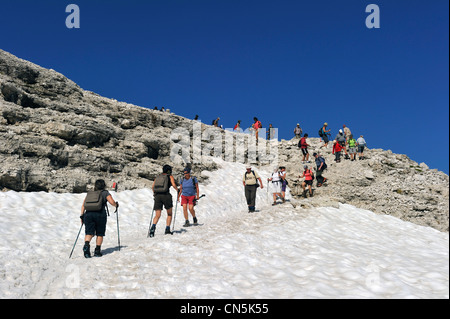 Italy, Trentino-Alto Adige, autonomous province of Bolzano, Dolomites, near Passo Pordoi, the gruppo del Sella, - Stock Photo