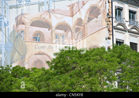 France, Rhone, Lyon, historical site listed as World Heritage by UNESCO, the Old Lyon, the fresco La Cour des Loges - Stock Photo