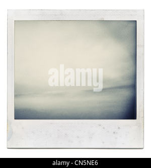 Designed grungy instant film frame with abstract filling isolated on white, kind of background, vintage hard grain - Stock Photo