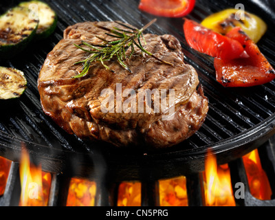 Grilled Steak And Asparagus Beef Fillet Steaks Roast Peppers Being Pan Fried On A Bbq Meat Food Photos