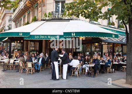 France, Paris, St Germain des Pres, the restaurant Les Deux Magots - Stock Photo