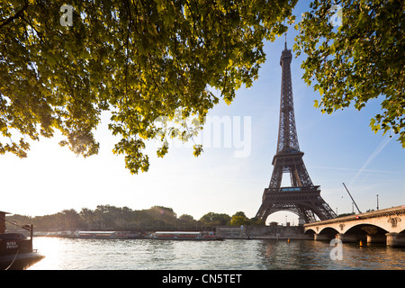 France, Paris, Seine river banks listed as World Heritage by UNESCO, the Iena bridge and the Eiffel Tower - Stock Photo