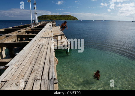 Puerto Rico, Vieques Island, small town of Esperanza, children bathing in the sea - Stock Photo