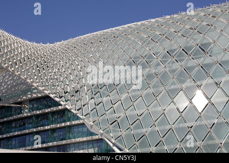 Architectural detail of the Yas Viceroy Hotel, Abu Dhabi, United Arab Emirates - Stock Photo